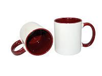 Чашка  для сублимации цветная внутри и ручка 330 мл (бордовый)