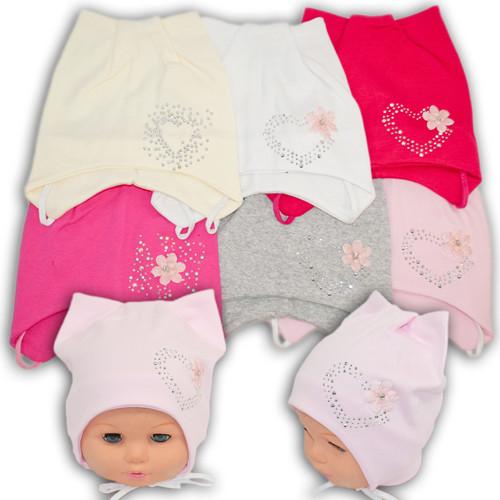 Трикотажная шапка на завязках для малышей