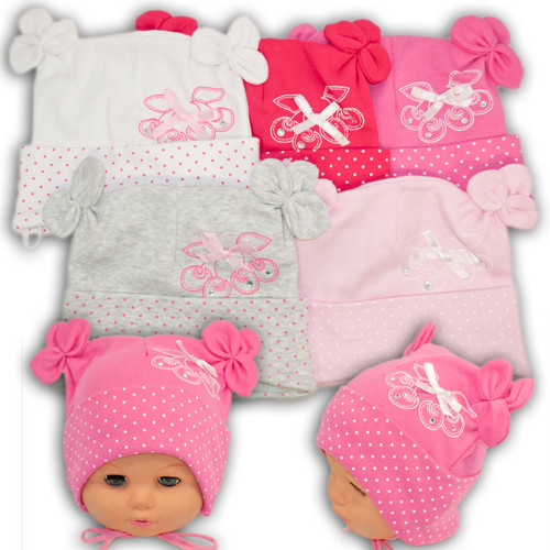Трикотажная шапка на завязках для малышей,16-171