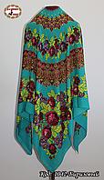 Бирюзовый платок без бахромы Букет цветов