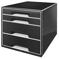 Шкафчик Leitz Black,  4 ящика. Черный/белые инд.