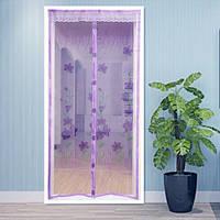 Антимоскитная сетка на раздельных магнитах  фиолетовая с рисунком 210х100 см, фото 1