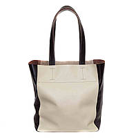 Классическая женская сумка Vatto кожаная бежевая с коричневыми вставками.