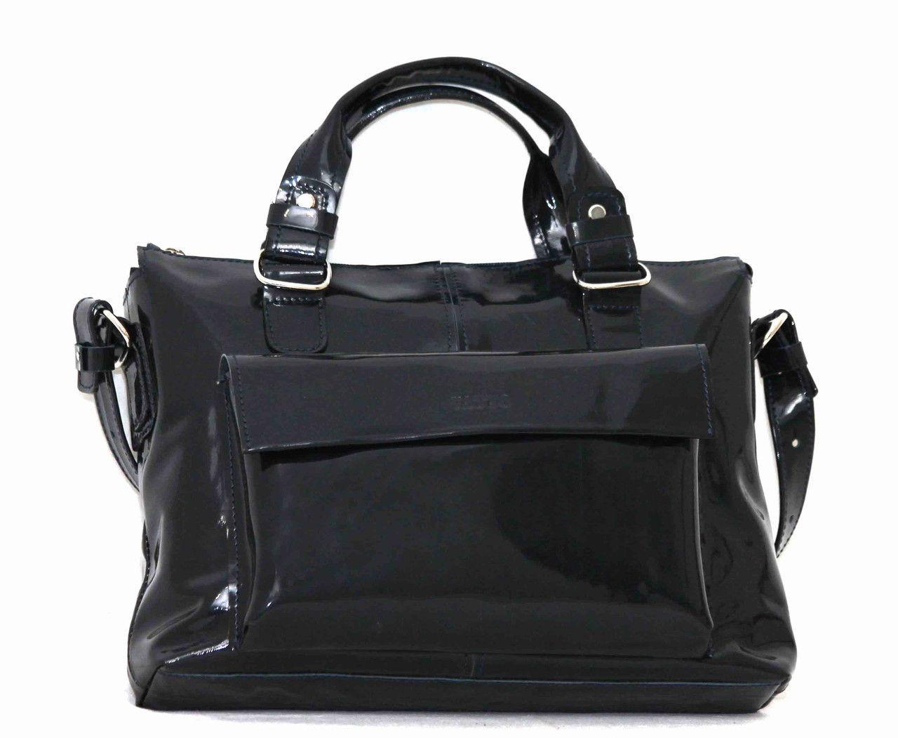 909925cbd0c6 Элегантная женская кожаная лаковая сумка Vatto темно-синяя - Интернет  магазин