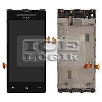 Дисплей для мобильного телефона HTC C620e Windows Phone 8X, черный, с передней панелью, с сенсорным
