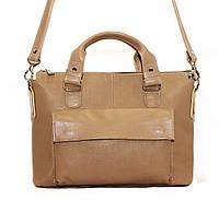 Классическая женская сумка Vatto бежевая из натуральной кожи