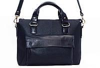 Классическая женская сумка Vatto темно-синяя из натуральной кожи
