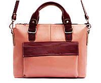 Классическая женская сумка Vatto пудра+бордо из натуральной кожи
