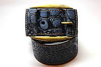 Ремень кожаный 'Ranger' 45 мм синий тертый с крокодиловым узором