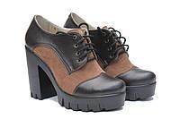 Кожаные женские туфли на толстом каблуке, фото 1