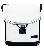 Женская сумочка-планшет Vatto белая с синим из натуральной кожи