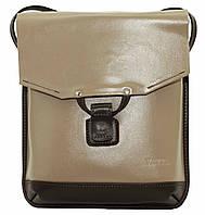 Женская сумочка-планшет Vatto капучино+коричневый из натуральной кожи