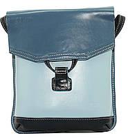 Женская сумочка-планшет Vatto голубой+джинс из натуральной кожи