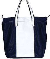 Практичная сумка женская Vatto кожаная синяя+белая