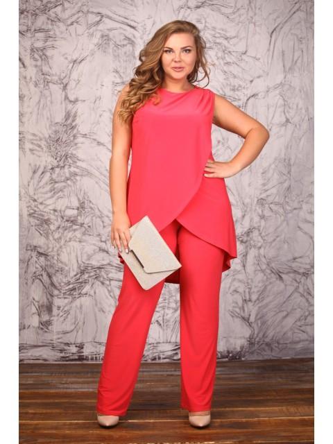 eaed0e2f073 Женский коралловый костюм больших размеров — купить в интернет ...