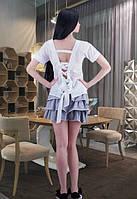 Женская летняя блуза с открытой спиной и бантом Sentiment (разные цвета)