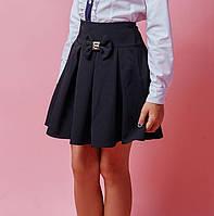 """Школьная юбка для девочек """"Бант"""" синего цвета"""