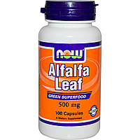 Альфальфа, Alfalfa Leaf, Now Foods, Нау Фудз, 500 мг, 100 капсул