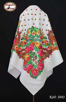 Шерстяной белый платок Цветочный Рай, фото 2