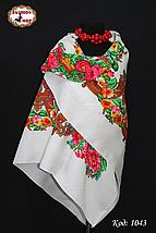 Шерстяной белый платок Цветочный Рай, фото 3