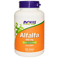 Альфальфа, Alfalfa Leaf, Now Foods, Нау Фудз, 650 мг, 250 таблеток