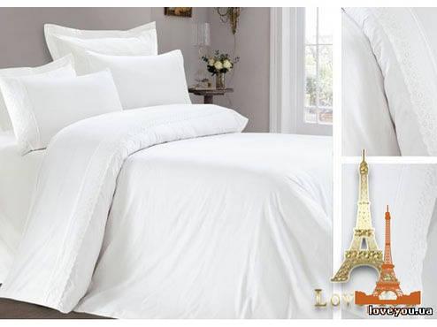 Комплект постельного белья Полуторный Love You Сатин с кружевом 160Х220 белый 1, фото 2