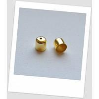 Концевик-колпачок металлический, золотого цвета, 11 мм х 10 мм