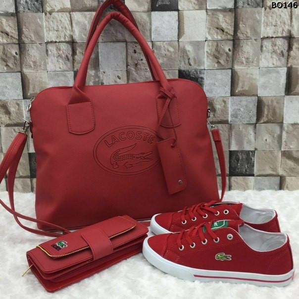 661eead83612 Красивый набор от Lacoste сумка, кошелёк и обувь размер 36-40 ...