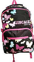 Рюкзак розовый и черный с бабочками jincaiz j-01