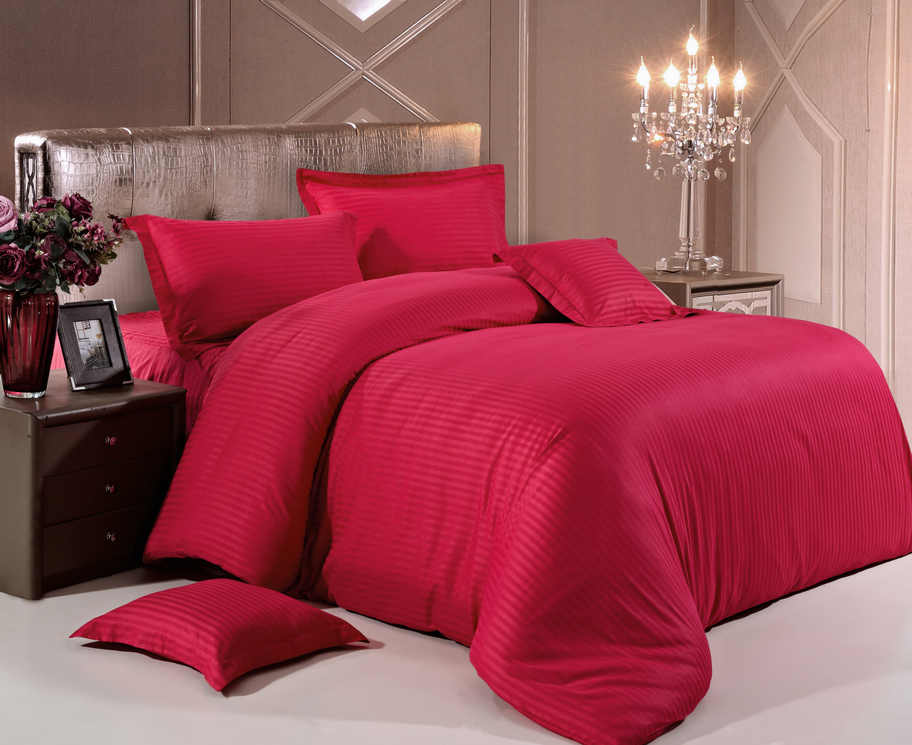 Комплект постельного белья Евро Love You Страйп-сатин 200Х220 красный