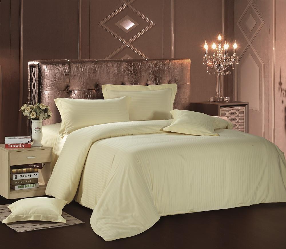 Комплект постельного белья Евро Love You Страйп-сатин 200Х220 кремовый