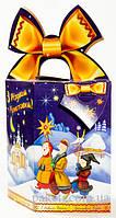 """Новогодняя упаковка из картона на 2019г. """"Бант Рождество 700г."""" размер 10*10*h17(см.), фото 1"""