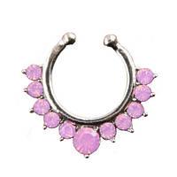 Серьга-обманка в нос  серебро с молочно-розовыми  камнями