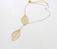 Подвеска ожерелье золотистая цепочка с листиками