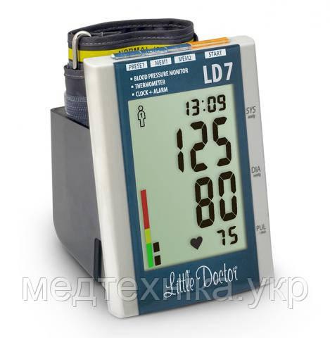 Тонометр автоматический на плечо LD 7 с искусственным интеллектом, индикатором аритмии, термометром, Сингапур