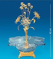 Хрустальная конфетница Сваровски с позолотой Букет AR-1342