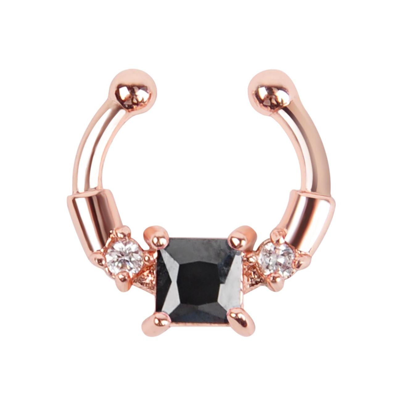 Серьга-обманка в нос Chic с черным камнем розовое золото