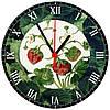 """настенные часы на стекле """"Земляника"""" круглые"""