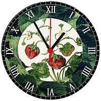 """настенные часы на стекле """"Земляника"""" круглые, фото 1"""