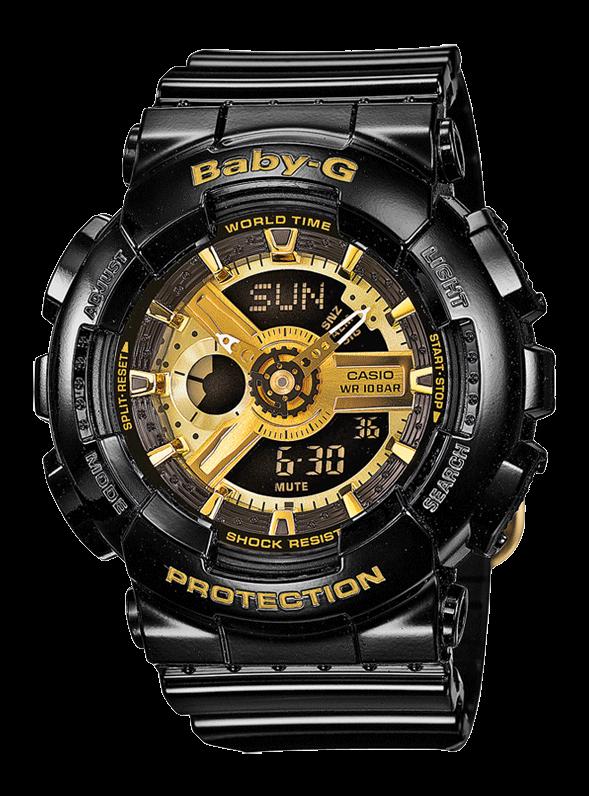 женские спортивные часы Casio Baby G Ba 110 1aer черные с золотом