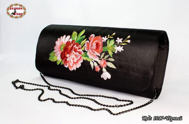 Вышитый чёрный клатч Нежность, фото 2