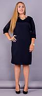 Эвелин. Стильное платье супер батал. Синий., фото 1