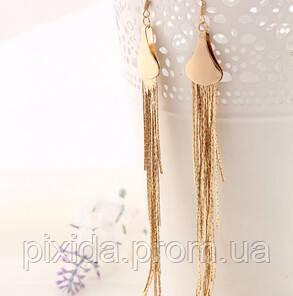 Сережки пряди цепочки покрытие на выбор: 14К золото, 14К платина, червление платины