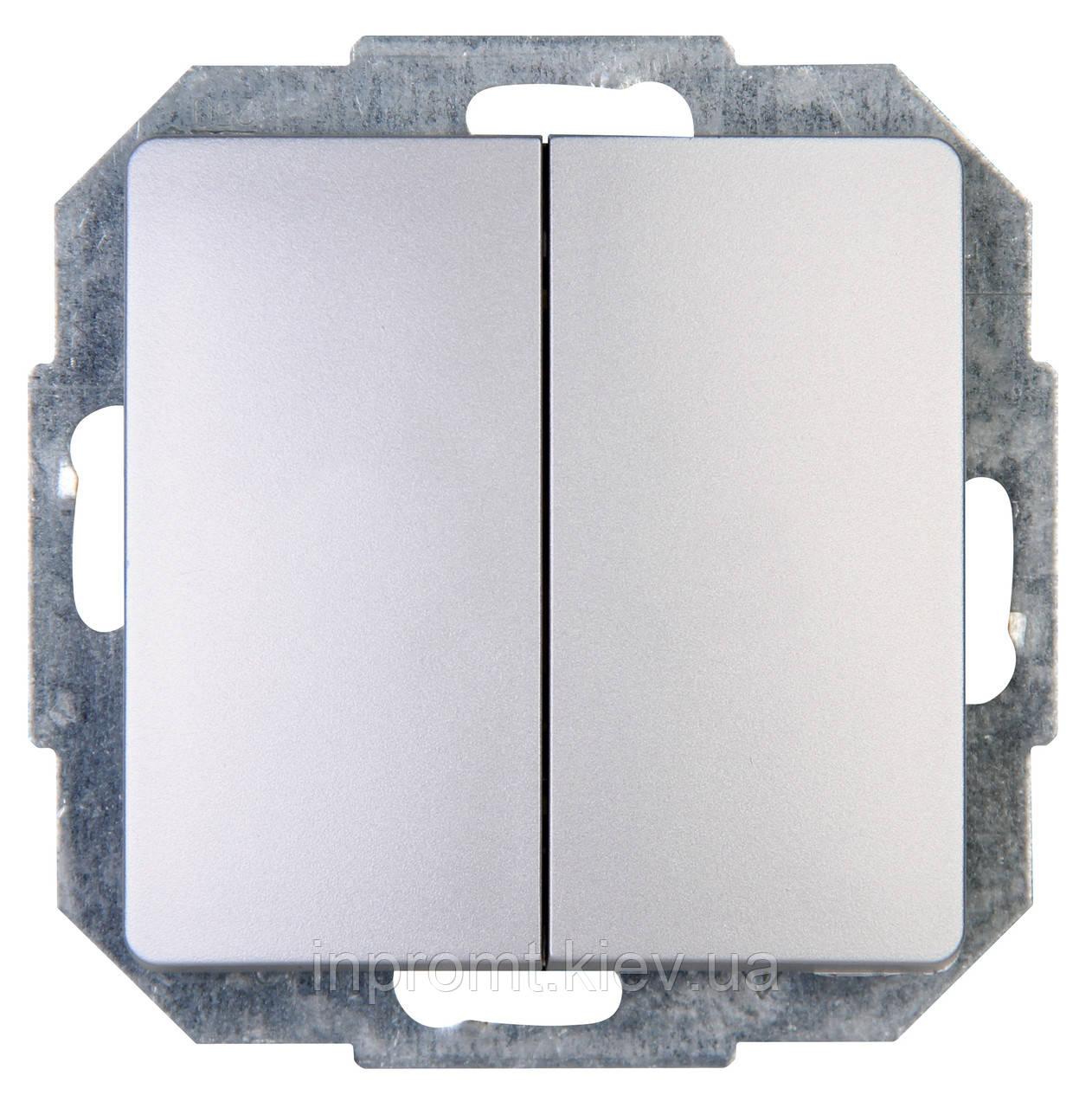 Paris/Париж Двухклавишный выключатель серебро Kopp
