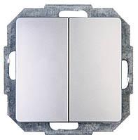 Двухклавишный проходной выключатель серебро