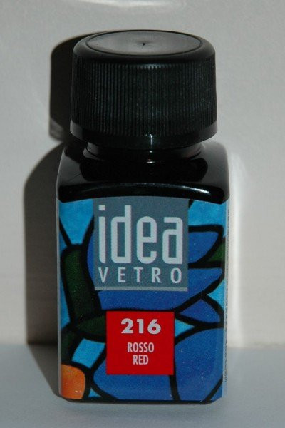 Витражная краска Идея Ветро Idea Vetro Насыщенный красный Rosco Red 216 (60 мл),Maimeri,Италия.
