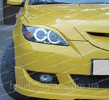 Реснички Мазда 3 BK хэтчбек (накладки на передние фары Mazda 3 5d BK)