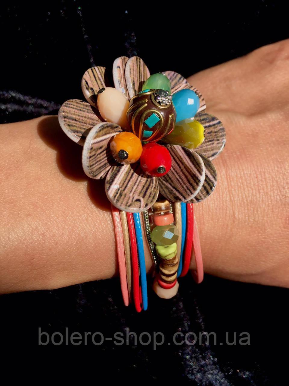 Браслет женский на застежке цветок итальянская бижутерия