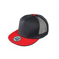 Кепка-рэперка MB6636 черная с красным прямым козырьком