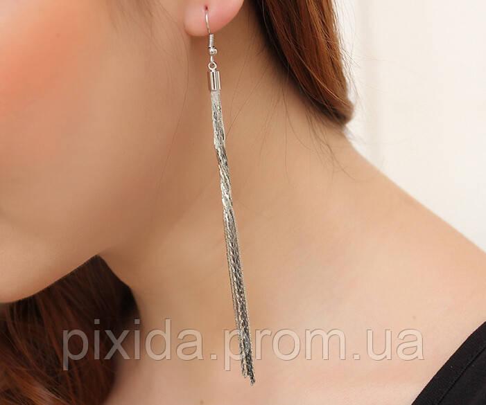Сережки хвостик цепочки покрытие  14К платина